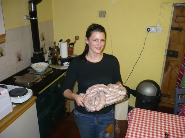 Making sausages with Denise for a biodynamic food festival.